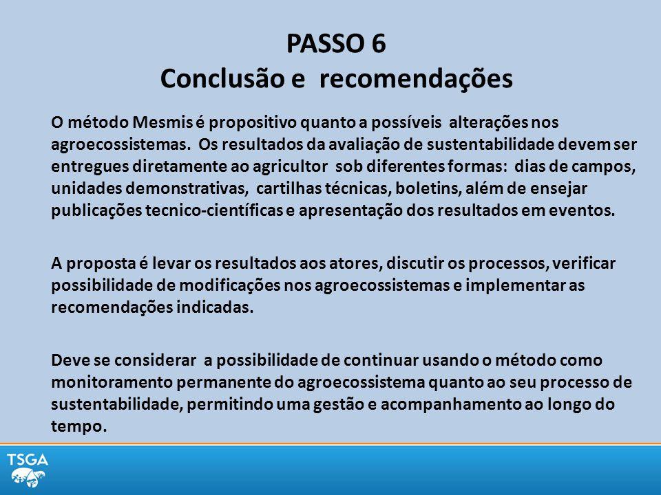 PASSO 6 Conclusão e recomendações O método Mesmis é propositivo quanto a possíveis alterações nos agroecossistemas. Os resultados da avaliação de sust