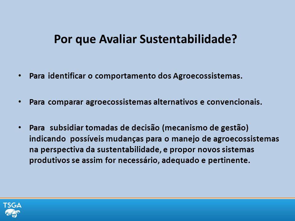 Por que Avaliar Sustentabilidade? Para identificar o comportamento dos Agroecossistemas. Para comparar agroecossistemas alternativos e convencionais.