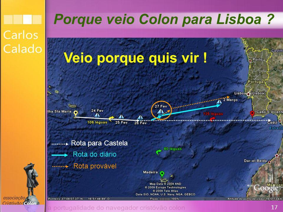 17 associação Cristóvão Colon Rota para Castela Rota do diário Rota provável Porque veio Colon para Lisboa .