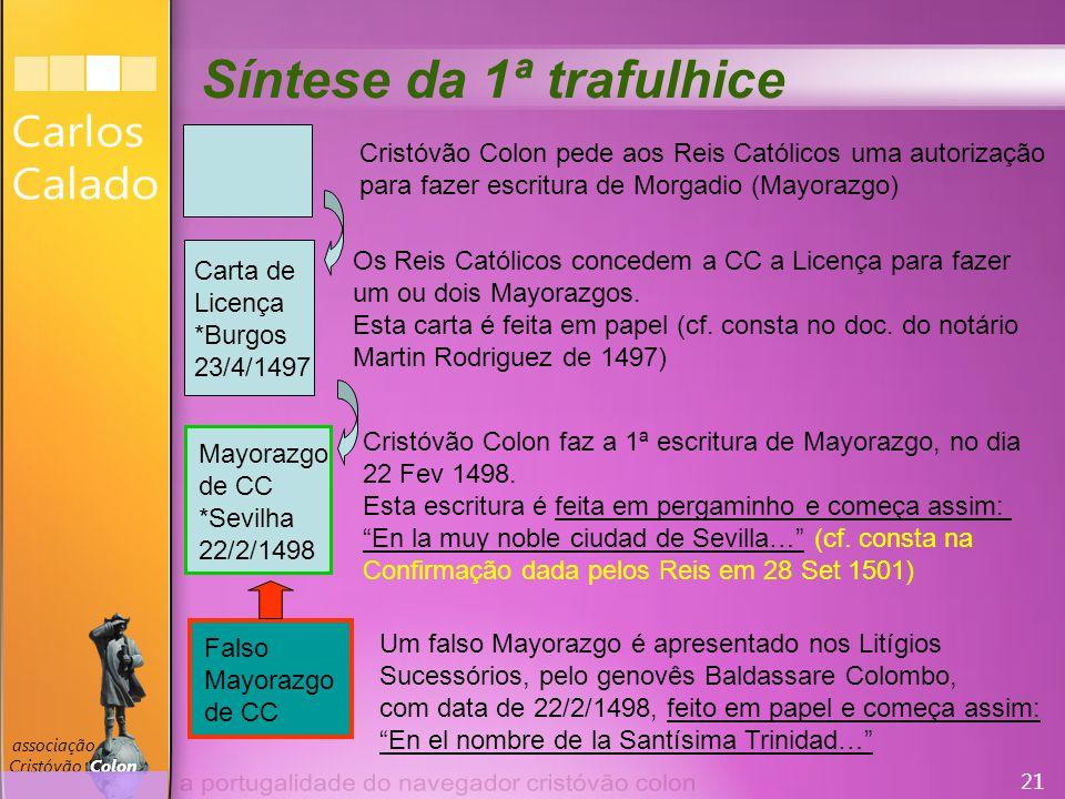 21 associação Cristóvão Colon Carta de Licença *Burgos 23/4/1497 Cristóvão Colon pede aos Reis Católicos uma autorização para fazer escritura de Morgadio (Mayorazgo) Os Reis Católicos concedem a CC a Licença para fazer um ou dois Mayorazgos.