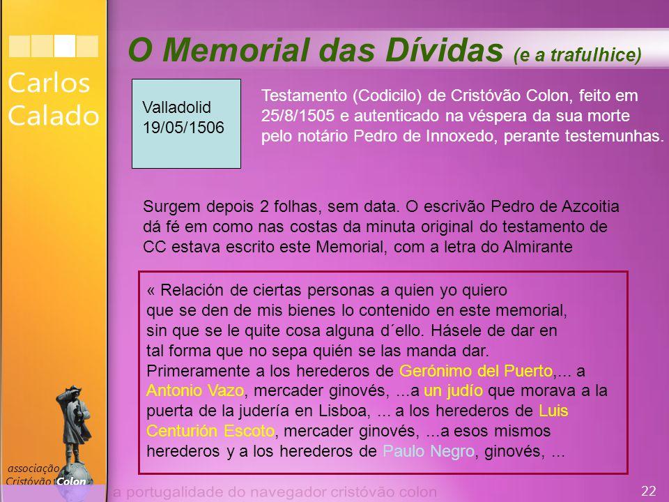 22 associação Cristóvão Colon O Memorial das Dívidas (e a trafulhice) « Relación de ciertas personas a quien yo quiero que se den de mis bienes lo contenido en este memorial, sin que se le quite cosa alguna d´ello.