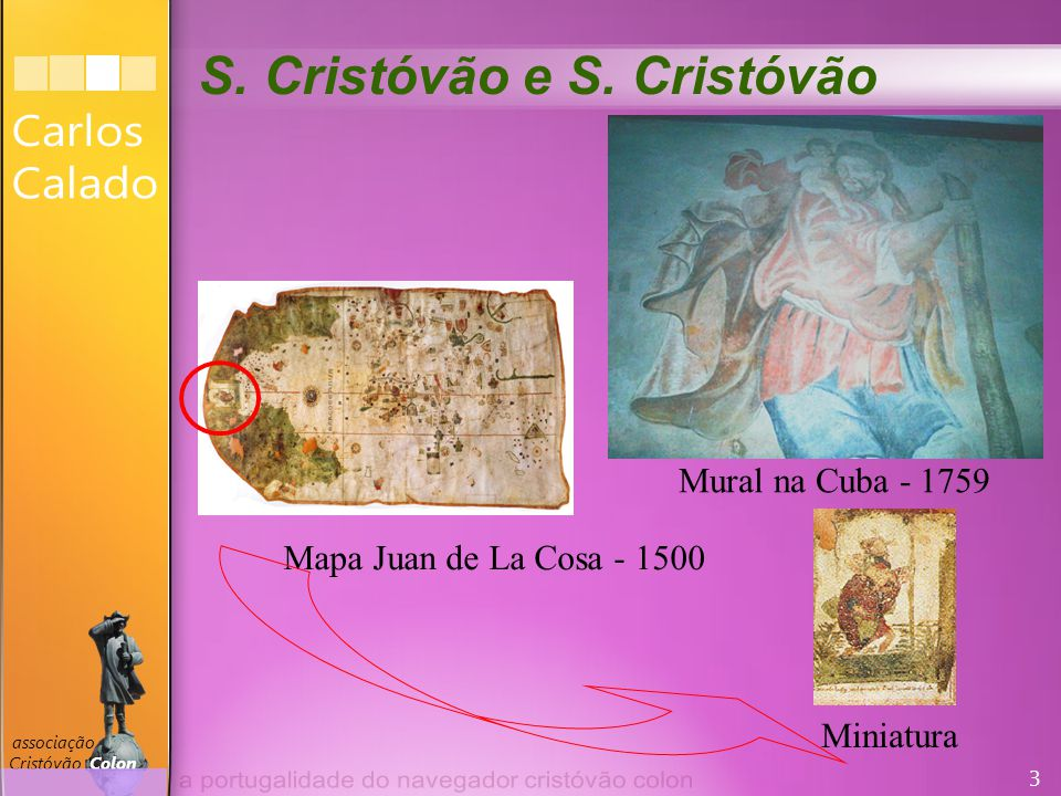 3 associação Cristóvão Colon Mapa Juan de La Cosa - 1500 Miniatura Mural na Cuba - 1759 S.