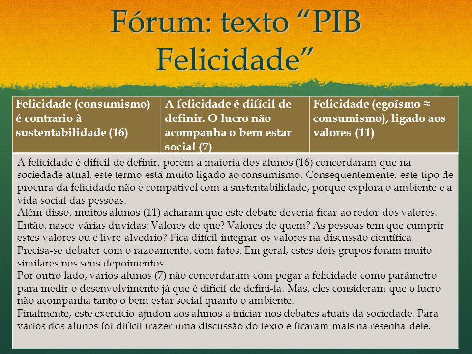 Fórum: texto deJosé Eli da Veiga O crescimento do PIB não significa desenvolvimento, precisa-se melhor distribuição (4) O crescimento do PIB pode não estar ligado ao desenvolvimento em saúde, educação e demografia.