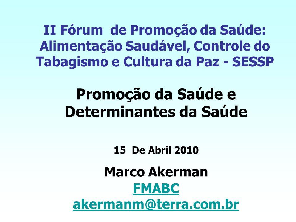 II Fórum de Promoção da Saúde: Alimentação Saudável, Controle do Tabagismo e Cultura da Paz - SESSP Promoção da Saúde e Determinantes da Saúde 15 De Abril 2010 Marco Akerman FMABC akermanm@terra.com.br