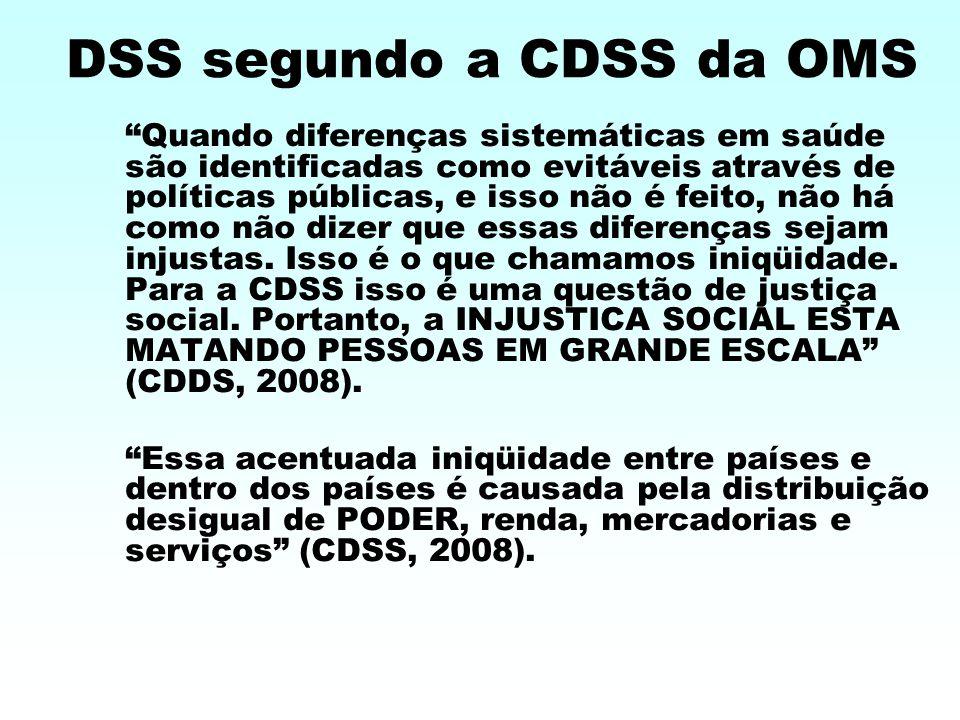 DSS segundo a CDSS da OMS Quando diferenças sistemáticas em saúde são identificadas como evitáveis através de políticas públicas, e isso não é feito, não há como não dizer que essas diferenças sejam injustas.