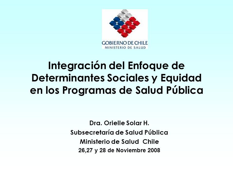 Integración del Enfoque de Determinantes Sociales y Equidad en los Programas de Salud Pública Dra.