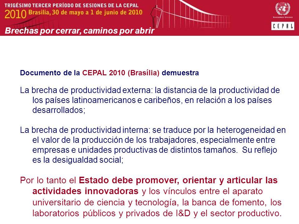 Documento de la CEPAL 2010 (Brasília) demuestra La brecha de productividad externa: la distancia de la productividad de los países latinoamericanos e