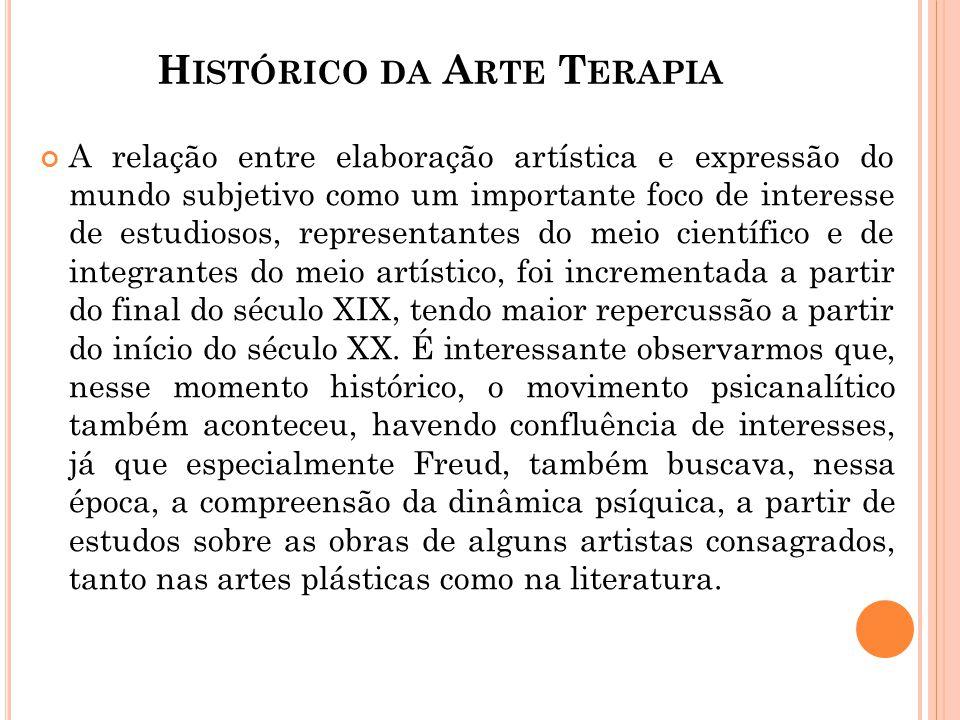 H ISTÓRICO DA A RTE T ERAPIA A relação entre elaboração artística e expressão do mundo subjetivo como um importante foco de interesse de estudiosos, r