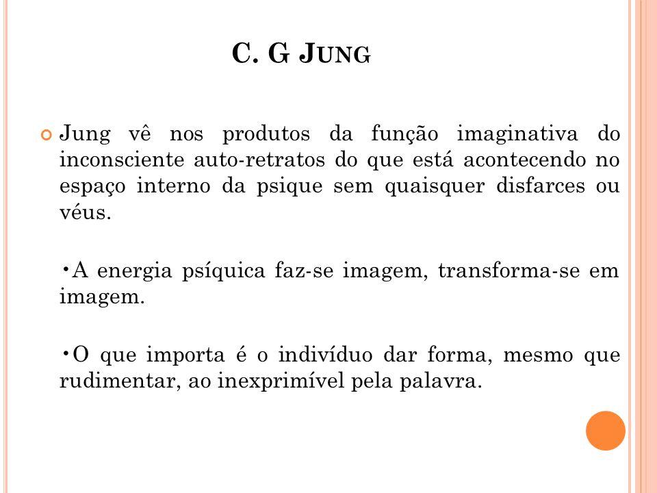 C. G J UNG Jung vê nos produtos da função imaginativa do inconsciente auto-retratos do que está acontecendo no espaço interno da psique sem quaisquer