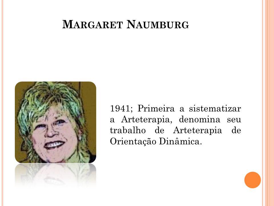 M ARGARET N AUMBURG 1941; Primeira a sistematizar a Arteterapia, denomina seu trabalho de Arteterapia de Orientação Dinâmica.