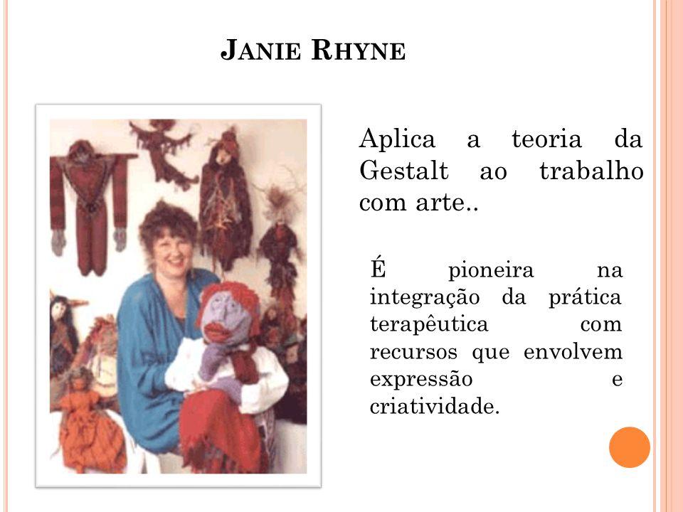 J ANIE R HYNE Aplica a teoria da Gestalt ao trabalho com arte.. É pioneira na integração da prática terapêutica com recursos que envolvem expressão e