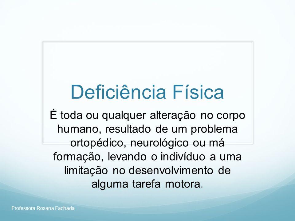 Professora Rosana Fachada Deficiência ortopédica AmputadosLesão Medular Sindromes Extra- Piramidais e cerebelar Sindromes Piramidais Deficiência Neurológica Deficiência Restritiva Câncer, Deficiências Pulmonares e Cardíaca Idosos, Aids, Queimados, Ostomizados