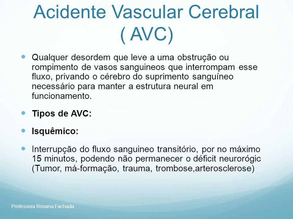 Professora Rosana Fachada Acidente Vascular Cerebral ( AVC) Qualquer desordem que leve a uma obstrução ou rompimento de vasos sanguineos que interromp