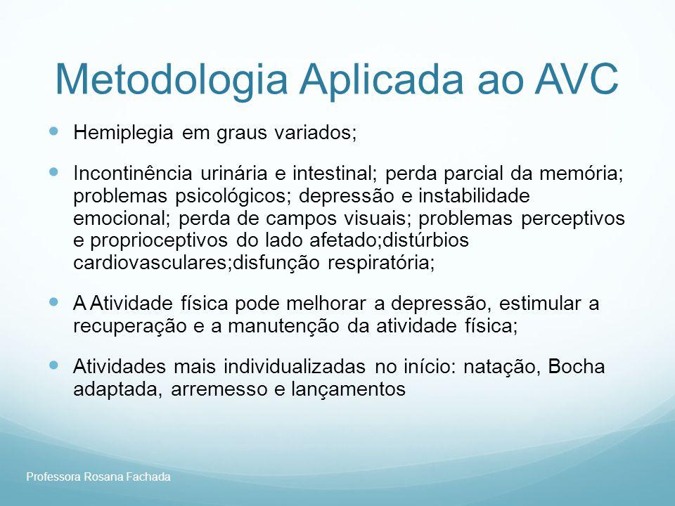 Professora Rosana Fachada Metodologia Aplicada ao AVC Hemiplegia em graus variados; Incontinência urinária e intestinal; perda parcial da memória; pro