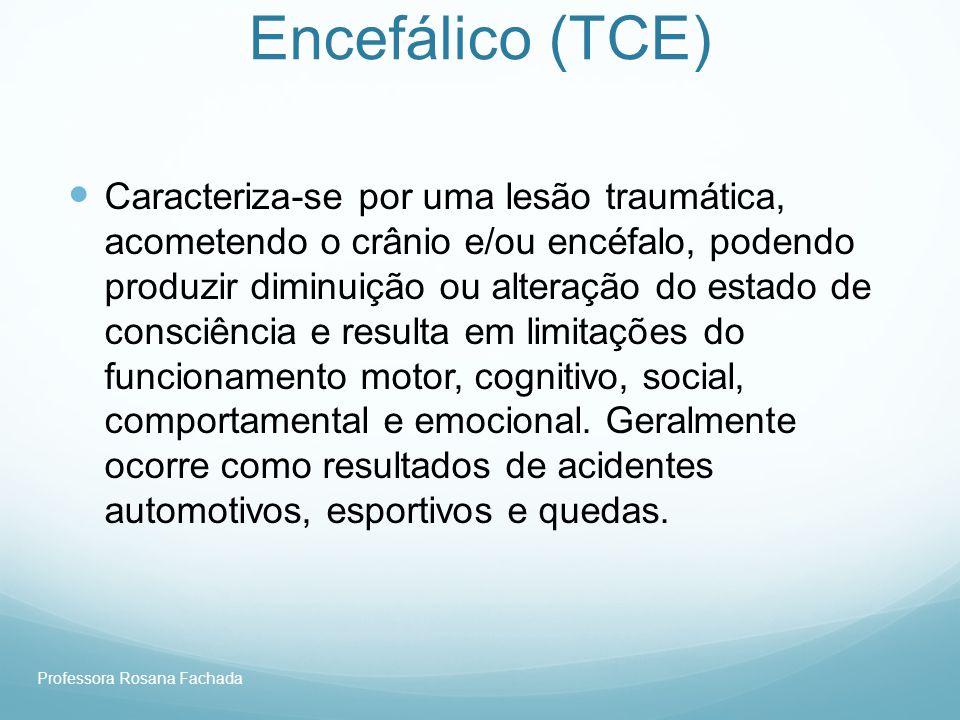 Professora Rosana Fachada Traumatismo Crânio- Encefálico (TCE) Caracteriza-se por uma lesão traumática, acometendo o crânio e/ou encéfalo, podendo pro