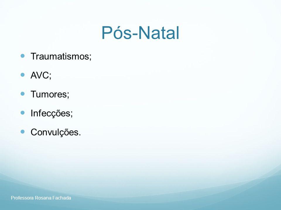 Professora Rosana Fachada Pós-Natal Traumatismos; AVC; Tumores; Infecções; Convulções.
