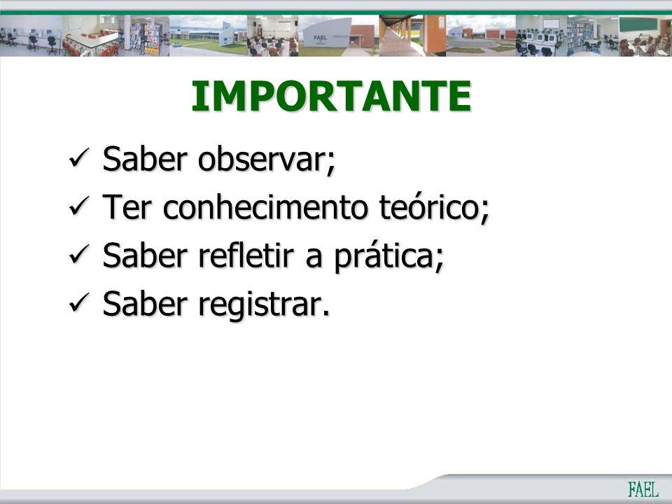 IMPORTANTE Saber observar; Saber observar; Ter conhecimento teórico; Ter conhecimento teórico; Saber refletir a prática; Saber refletir a prática; Sab