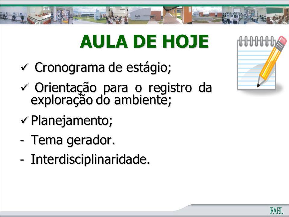 AULA DE HOJE Cronograma de estágio; Cronograma de estágio; Orientação para o registro da exploração do ambiente; Orientação para o registro da explora