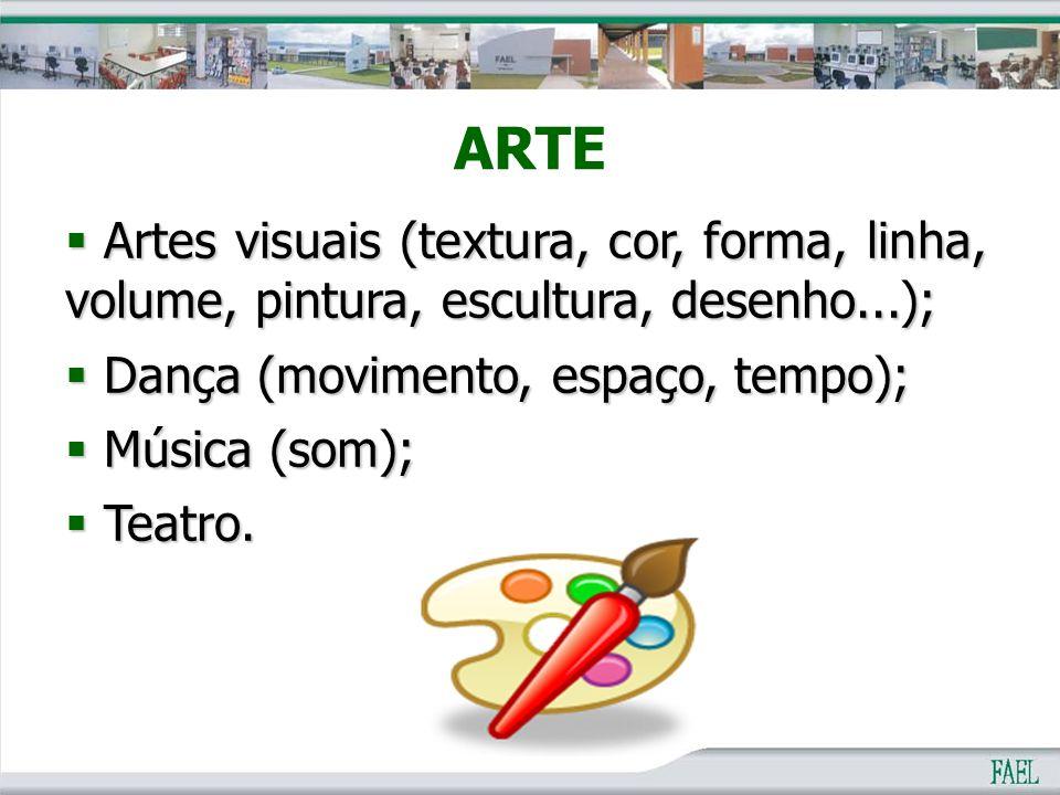 ARTE  Artes visuais (textura, cor, forma, linha, volume, pintura, escultura, desenho...);  Dança (movimento, espaço, tempo);  Música (som);  Teatr