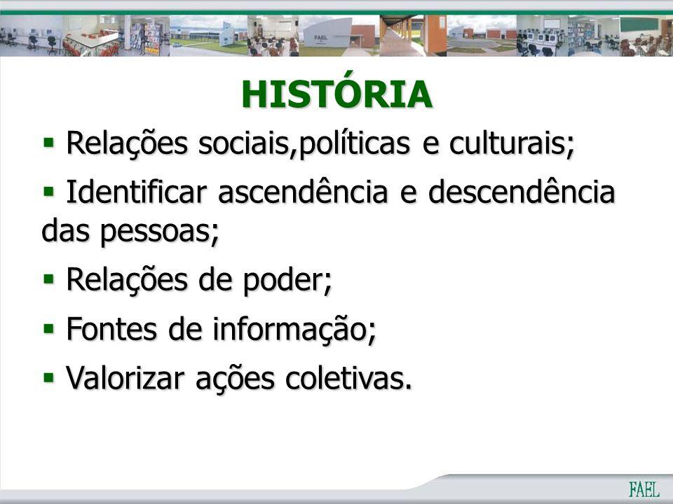 HISTÓRIA  Relações sociais,políticas e culturais;  Identificar ascendência e descendência das pessoas;  Relações de poder;  Fontes de informação;