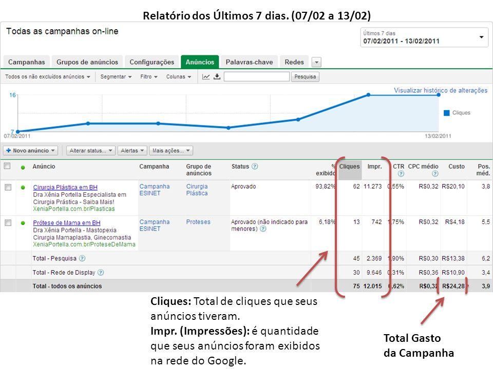Relatório dos Últimos 7 dias. (07/02 a 13/02) Cliques: Total de cliques que seus anúncios tiveram.