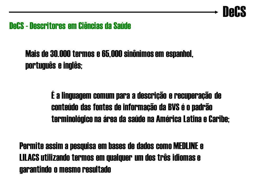 DeCS DeCS - Descritores em Ciências da Saúde Mais de 30.000 termos e 65,000 sinônimos em espanhol, português e inglês; É a linguagem comum para a descrição e recuperação de conteúdo das fontes de informação da BVS é o padrão terminológico na área da saúde na América Latina e Caribe; Permite assim a pesquisa em bases de dados como MEDLINE e LILACS utilizando termos em qualquer um dos três idiomas e garantindo o mesmo resultado