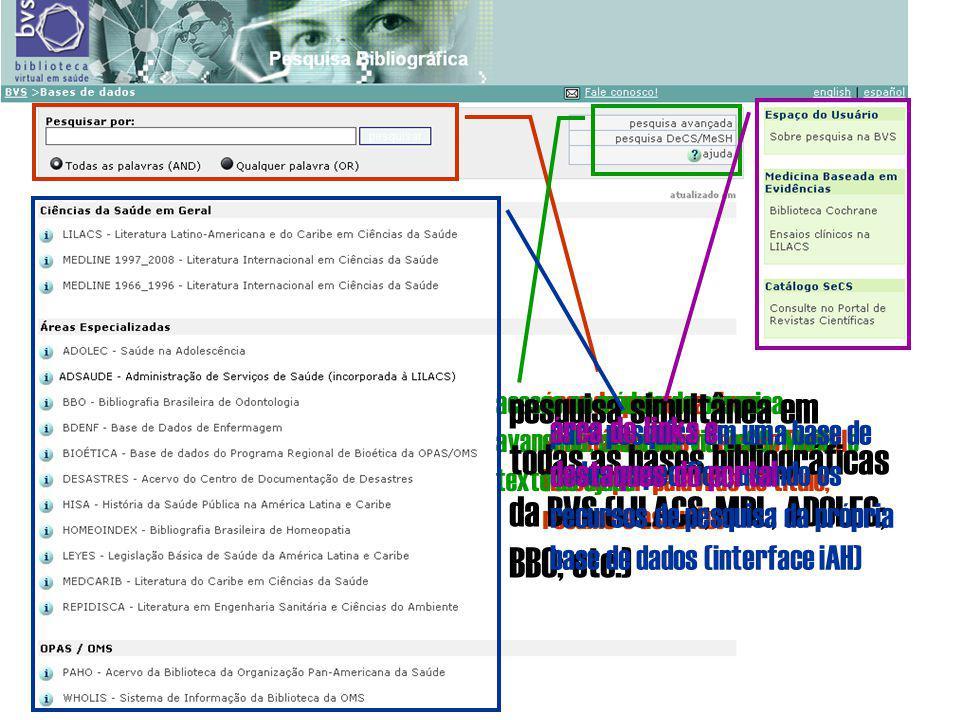 área de pesquisa livre simultânea nas bases do Portal (busca por palavras do título, resumo e assunto) acesso ao módulo de pesquisa avançada, pesquisa via DeCS/MeSH e texto de ajuda pesquisa simultânea em todas as bases bibliográficas da BVS (LILACS; MDL; ADOLEC; BBO; etc.) para pesquisa em uma base de dados específica, usando os recursos de pesquisa da própria base de dados (interface iAH) área de links e destaques do portal