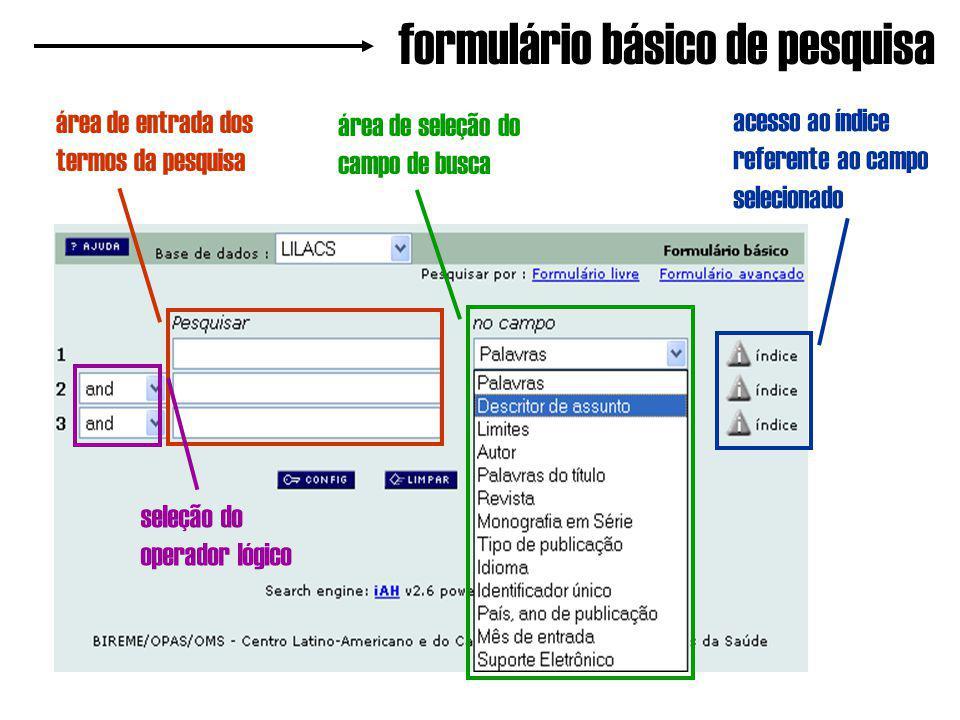 formulário básico de pesquisa área de entrada dos termos da pesquisa área de seleção do campo de busca acesso ao índice referente ao campo selecionado seleção do operador lógico