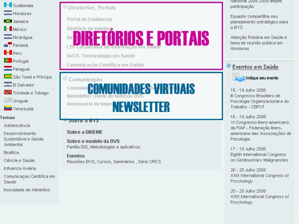 DIRETÓRIOS E PORTAIS COMUNIDADES VIRTUAIS NEWSLETTER