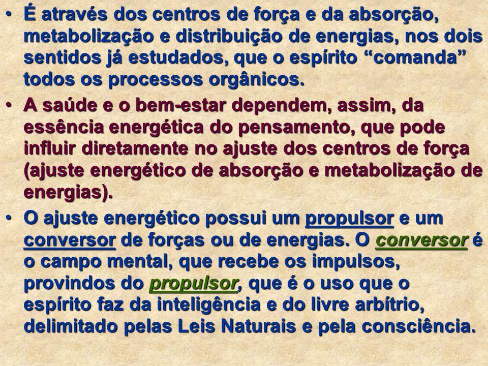 As energias transitam do corpo espiritual (espírito mais perispírito) para o corpo físico e vice-versa. Elas se interrelacionam através de duas linhas