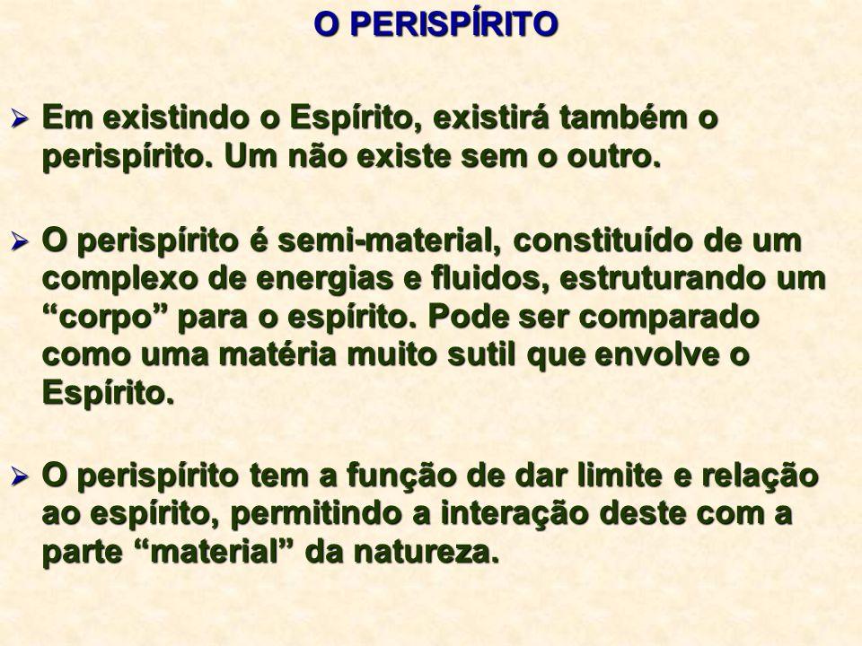 O PERISPÍRITO O PERISPÍRITO  Em existindo o Espírito, existirá também o perispírito.