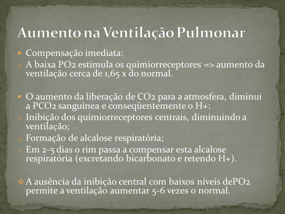 Compensação imediata: o A baixa PO2 estimula os quimiorreceptores => aumento da ventilação cerca de 1,65 x do normal. O aumento da liberação de CO2 pa
