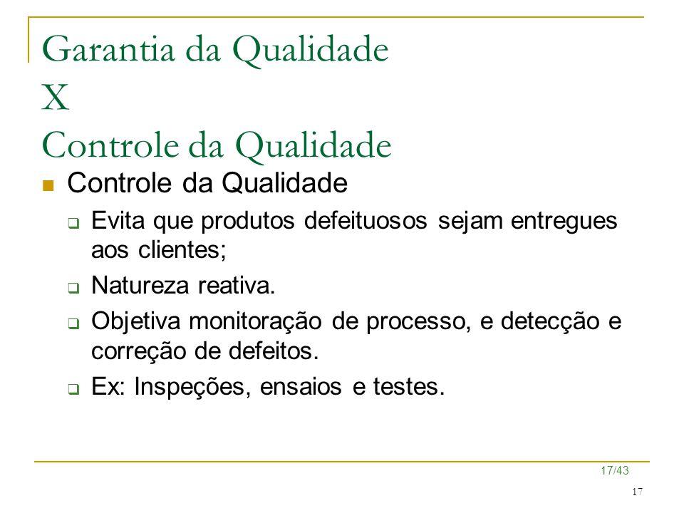 17/43 17 Garantia da Qualidade X Controle da Qualidade Controle da Qualidade  Evita que produtos defeituosos sejam entregues aos clientes;  Natureza