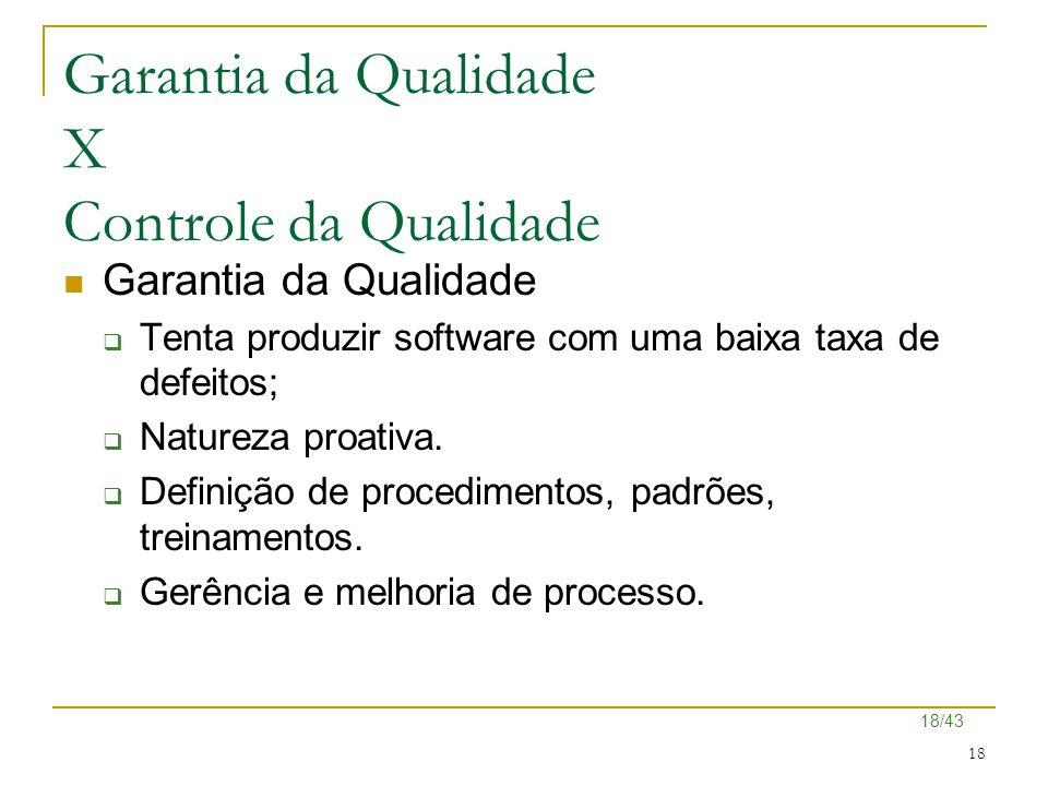 18/43 18 Garantia da Qualidade X Controle da Qualidade Garantia da Qualidade  Tenta produzir software com uma baixa taxa de defeitos;  Natureza proa
