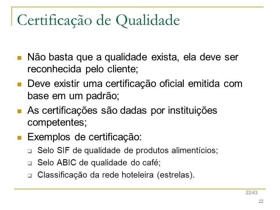 22/43 22 Certificação de Qualidade Não basta que a qualidade exista, ela deve ser reconhecida pelo cliente; Deve existir uma certificação oficial emit