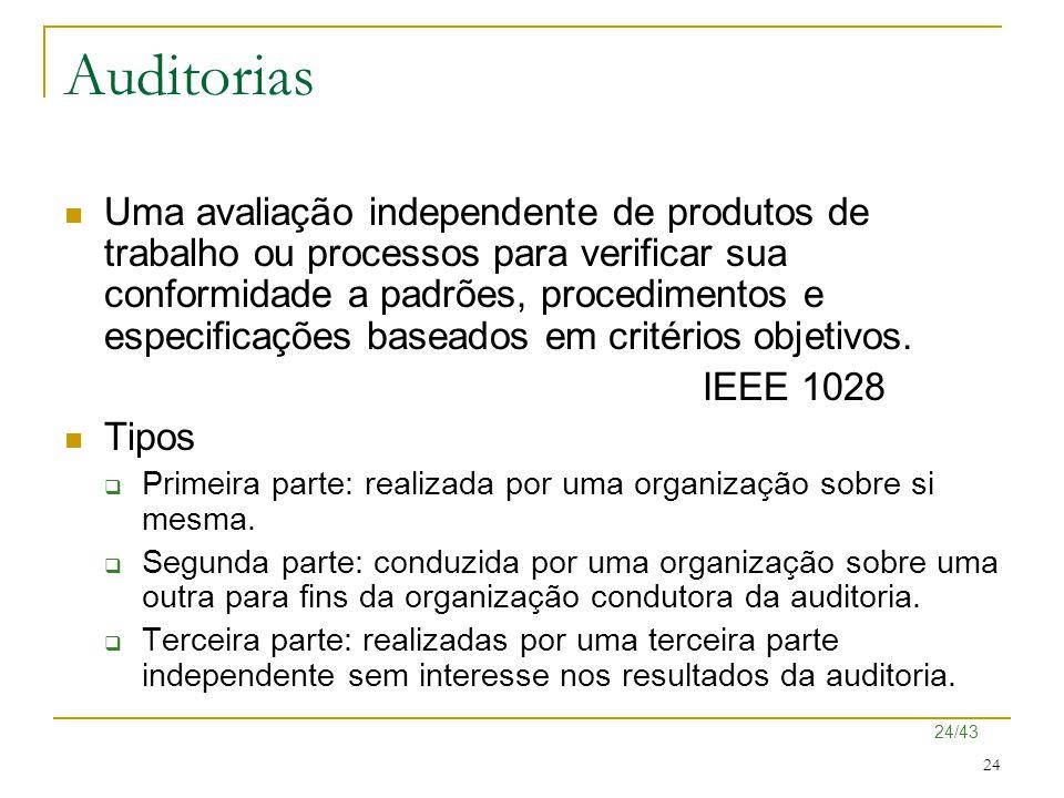 24/43 24 Auditorias Uma avaliação independente de produtos de trabalho ou processos para verificar sua conformidade a padrões, procedimentos e especif