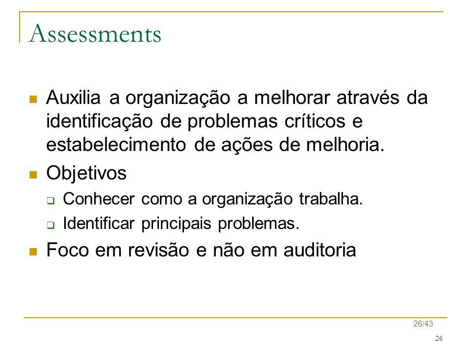 26/43 26 Assessments Auxilia a organização a melhorar através da identificação de problemas críticos e estabelecimento de ações de melhoria. Objetivos