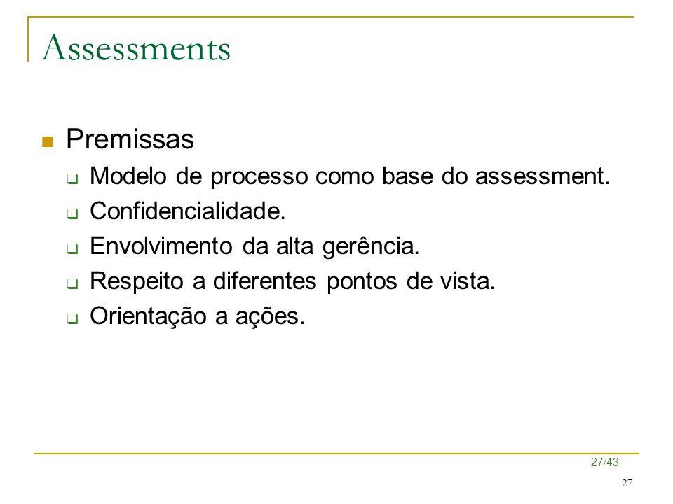 27/43 27 Assessments Premissas  Modelo de processo como base do assessment.  Confidencialidade.  Envolvimento da alta gerência.  Respeito a difere