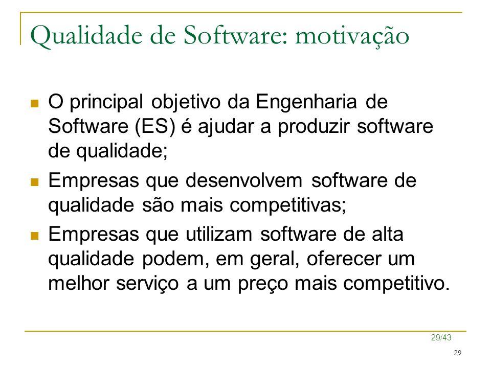 29/43 29 Qualidade de Software: motivação O principal objetivo da Engenharia de Software (ES) é ajudar a produzir software de qualidade; Empresas que