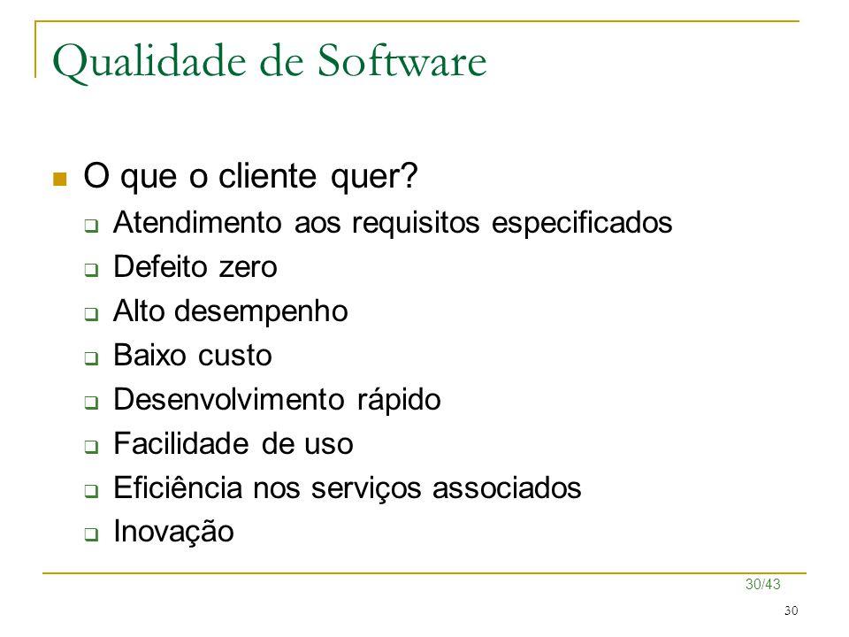 30/43 30 Qualidade de Software O que o cliente quer?  Atendimento aos requisitos especificados  Defeito zero  Alto desempenho  Baixo custo  Desen