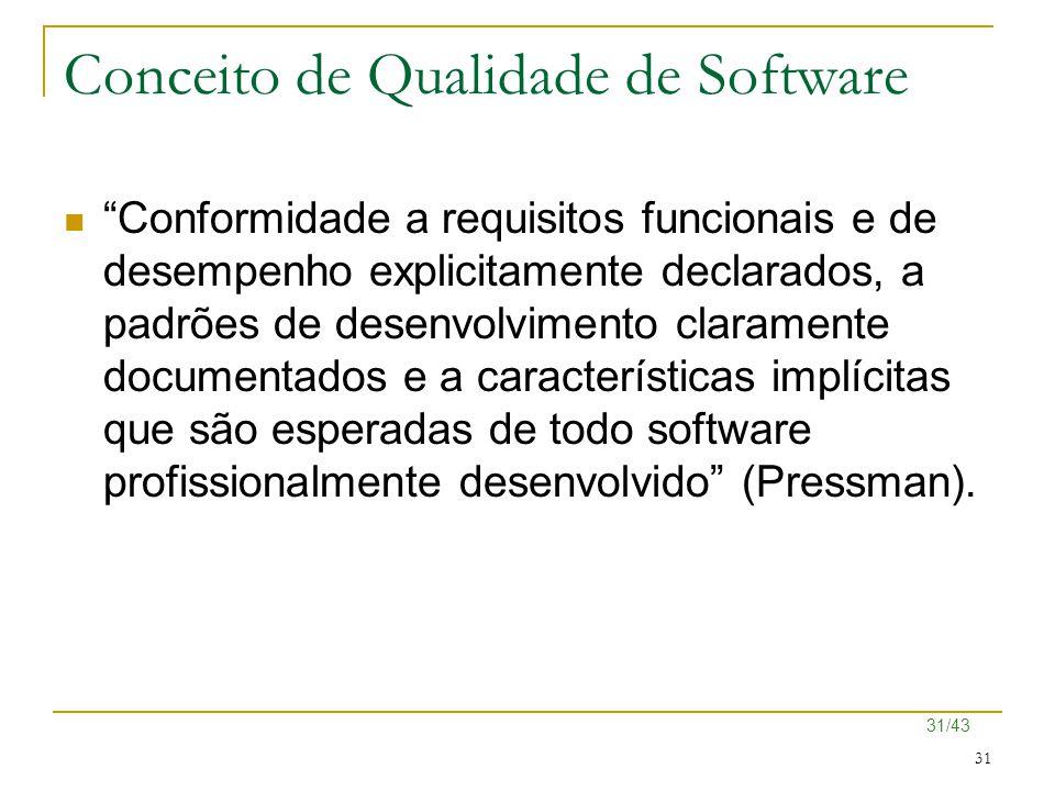 """31/43 31 Conceito de Qualidade de Software """"Conformidade a requisitos funcionais e de desempenho explicitamente declarados, a padrões de desenvolvimen"""
