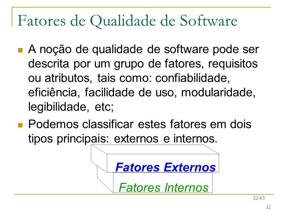 32/43 32 Fatores de Qualidade de Software A noção de qualidade de software pode ser descrita por um grupo de fatores, requisitos ou atributos, tais co