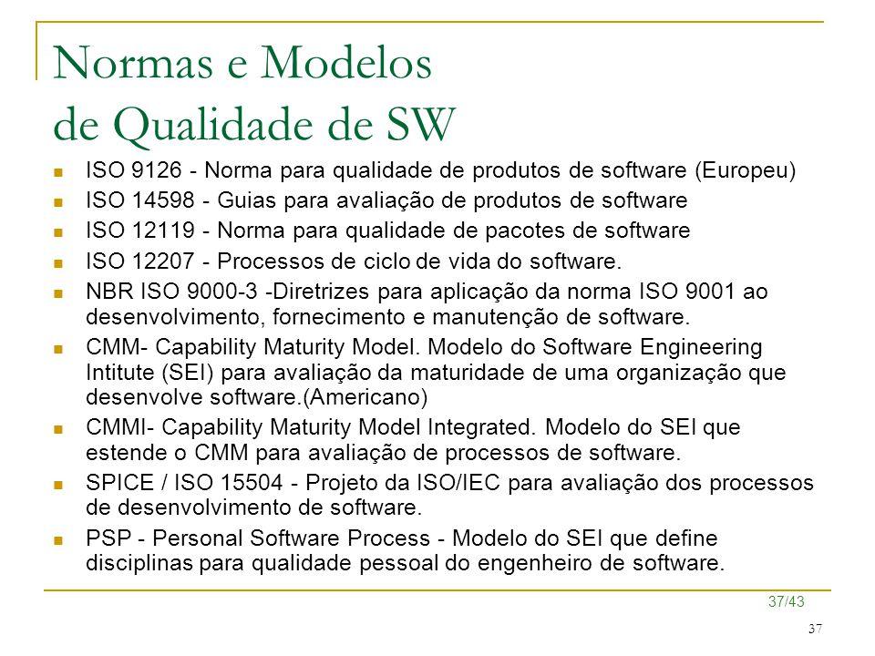 37/43 37 Normas e Modelos de Qualidade de SW ISO 9126 - Norma para qualidade de produtos de software (Europeu) ISO 14598 - Guias para avaliação de pro