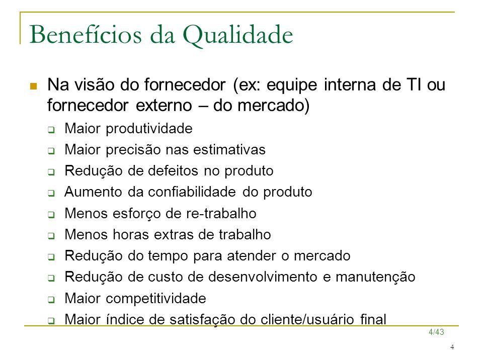 4/43 4 Benefícios da Qualidade Na visão do fornecedor (ex: equipe interna de TI ou fornecedor externo – do mercado)  Maior produtividade  Maior prec