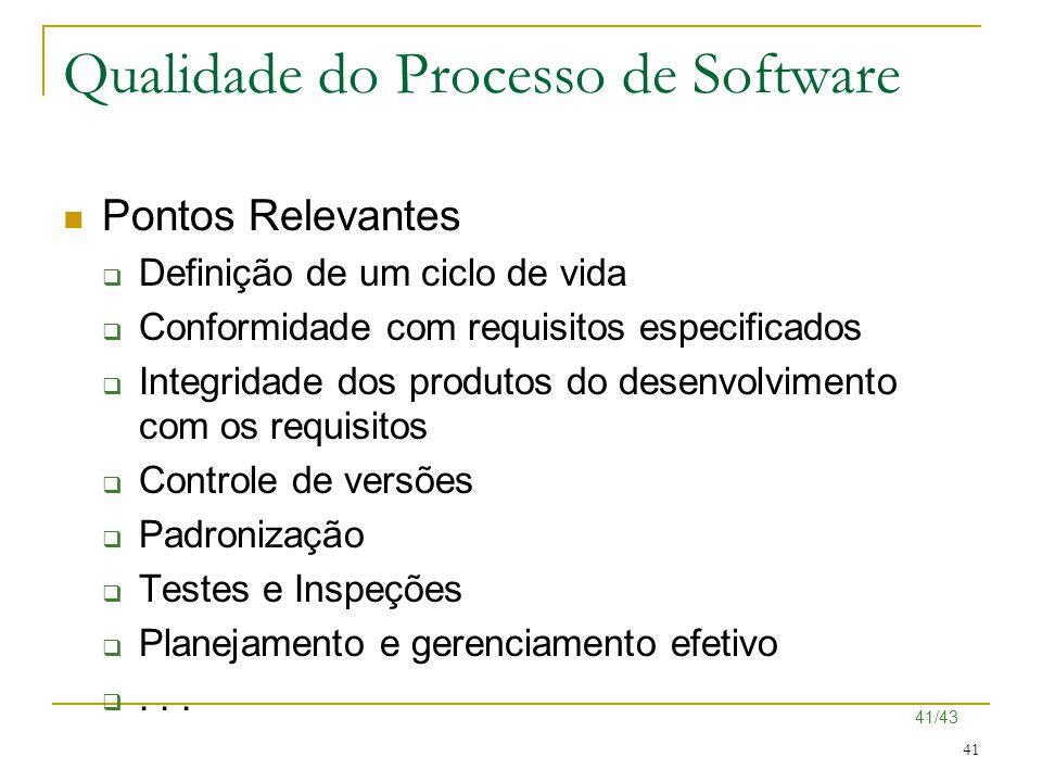 41/43 41 Qualidade do Processo de Software Pontos Relevantes  Definição de um ciclo de vida  Conformidade com requisitos especificados  Integridade