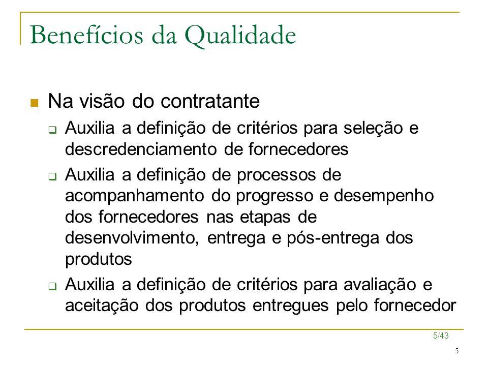 5/43 5 Benefícios da Qualidade Na visão do contratante  Auxilia a definição de critérios para seleção e descredenciamento de fornecedores  Auxilia a