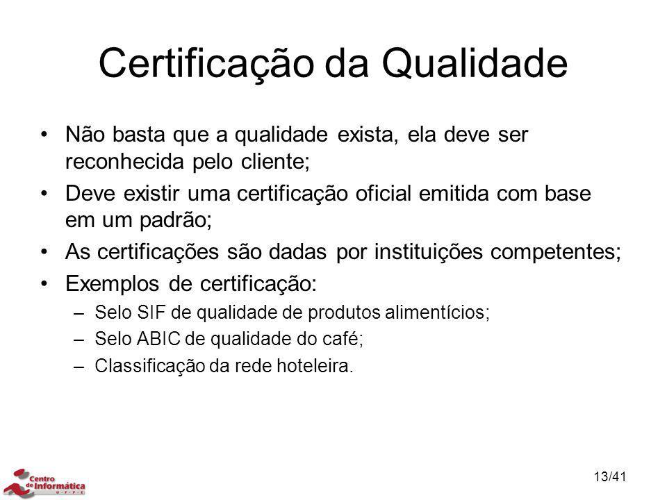Certificação da Qualidade Não basta que a qualidade exista, ela deve ser reconhecida pelo cliente; Deve existir uma certificação oficial emitida com b