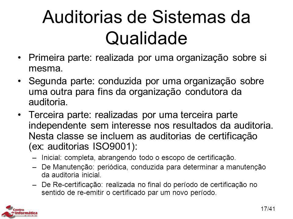 Auditorias de Sistemas da Qualidade Primeira parte: realizada por uma organização sobre si mesma. Segunda parte: conduzida por uma organização sobre u