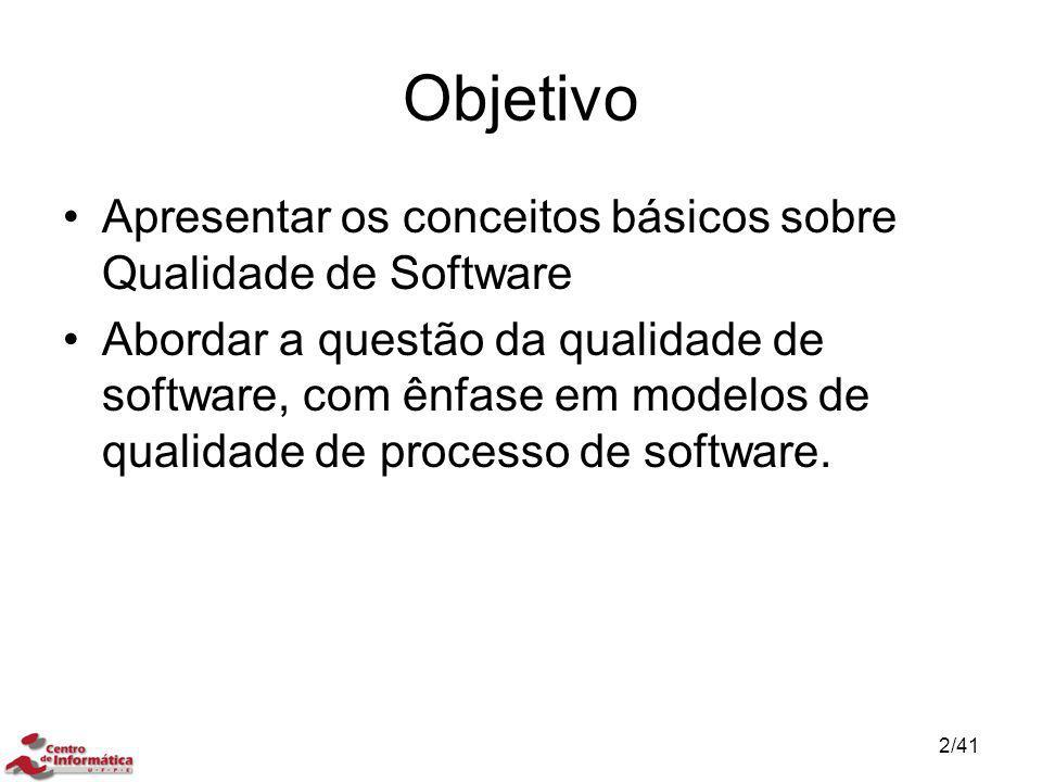 Objetivo Apresentar os conceitos básicos sobre Qualidade de Software Abordar a questão da qualidade de software, com ênfase em modelos de qualidade de