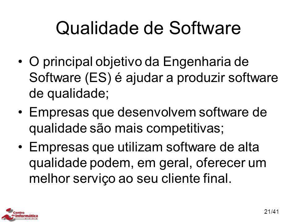 Qualidade de Software O principal objetivo da Engenharia de Software (ES) é ajudar a produzir software de qualidade; Empresas que desenvolvem software